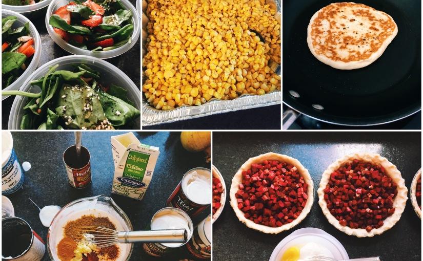 crockpot butter chicken, homemade naan bread, creamed garden corn, spinach strawberry salad and rhubarb sour cream pie