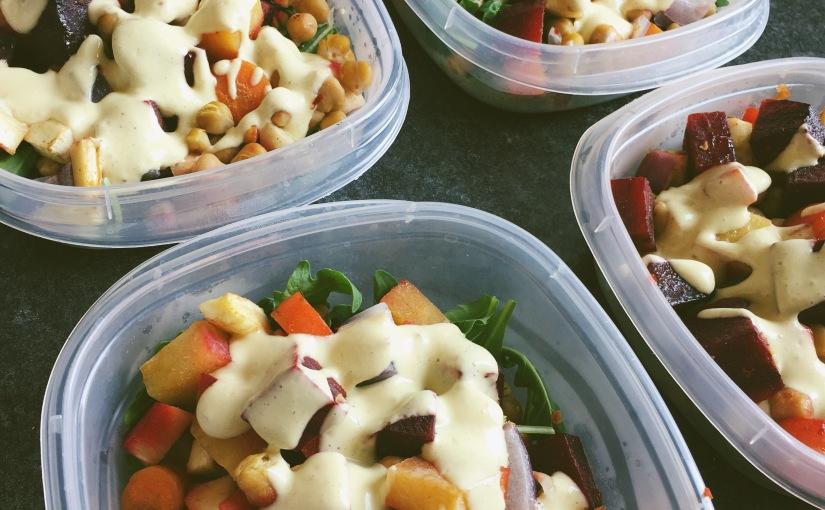 root veg salad, bison kale meatballs and spelt bananabread