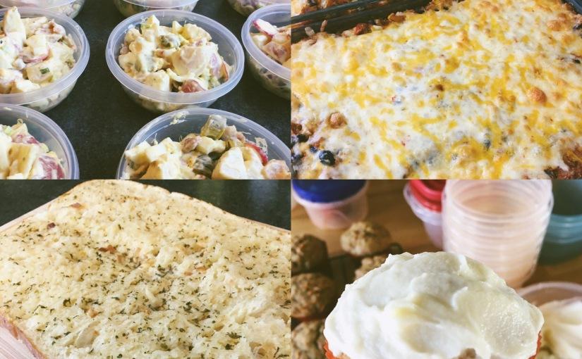 Nellie's potato salad, black bean enchilada bake & carrot cakemuffins