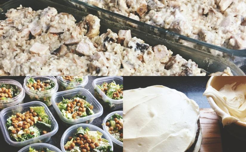 caesar salad with chickpeas, pork mushroom casserole & beet red velvetcake