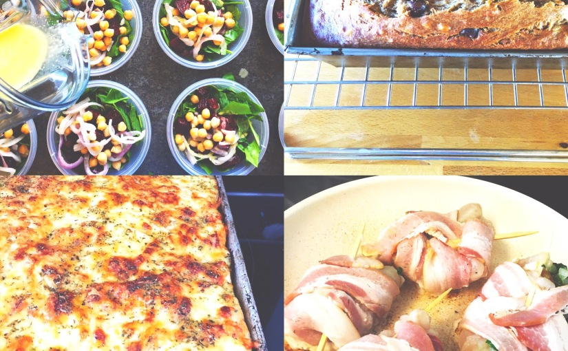 roasted beet & chickpea salad, Italian breadsticks, bacon wrapped chicken, zesty black beans and bananaloaf